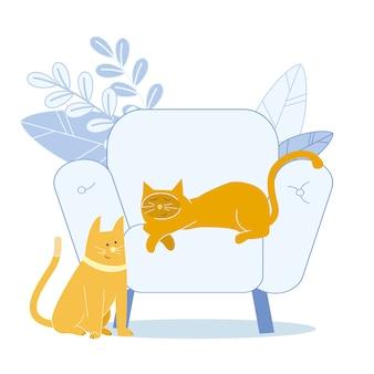 Adorables gatos de jengibre