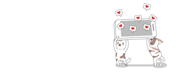 Adorables gatos lindos están levantando la ilustración del teléfono inteligente