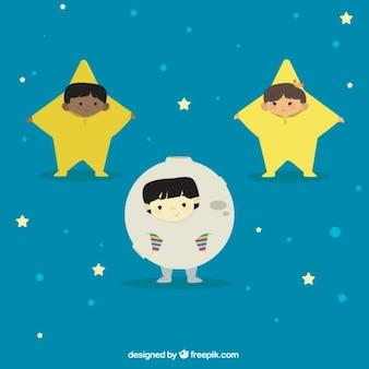 Adorables niños con disfraz de estrellas y luna