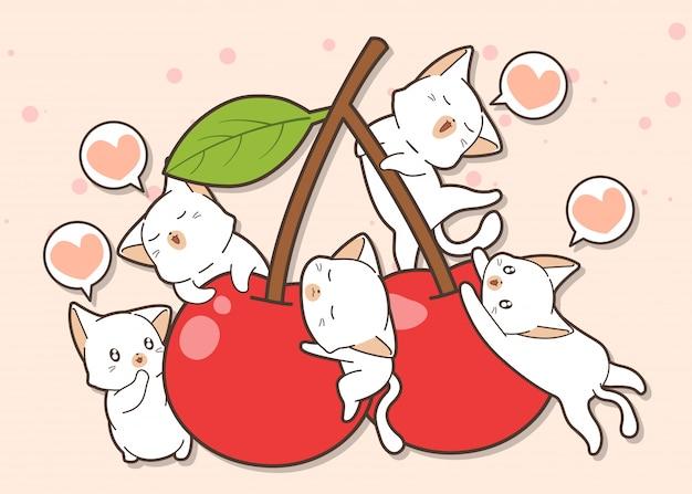 Adorables personajes de gato y cereza