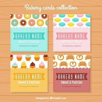 Adorables tarjetas de panadería vintage en diseño plano