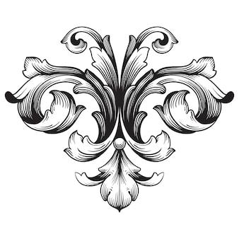 Adorno barroco clásico. elemento decorativo de diseño en filigrana.