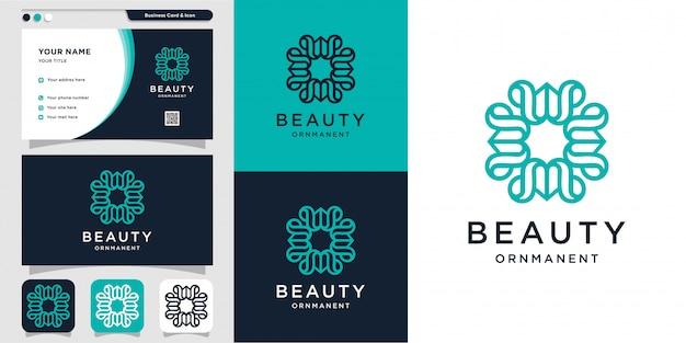 Adorno de belleza con estilo de logotipo y diseño de tarjeta de visita, lujo, abstracto, belleza, icono