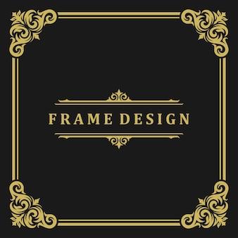 Adorno de borde de marco vintage y decoración de remolinos de viñetas con ilustración de vector de plantilla de divisor