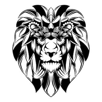El adorno de la cabeza de león con la gran melena como flores para la ilustración del tatuaje.