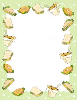 Adorno de comida rápida y sándwiches en estilo cómico garabatos vista superior plantilla de carta.