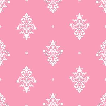 Adorno de damasco de lujo clásico. vintage rosa, patrón transparente, ilustración vectorial de fondo