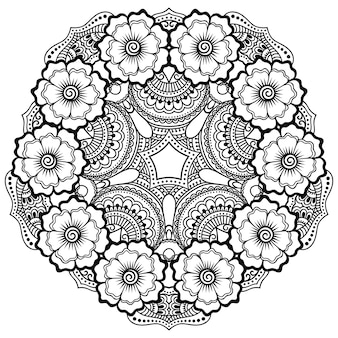 Adorno decorativo circular en estilo étnico oriental, en forma de mandala con decoración floral. esquema doodle mano dibujar ilustración.