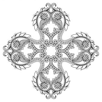 Adorno decorativo en estilo étnico oriental, en forma de mandala con decoración de flores. esquema doodle mano dibujar ilustración.