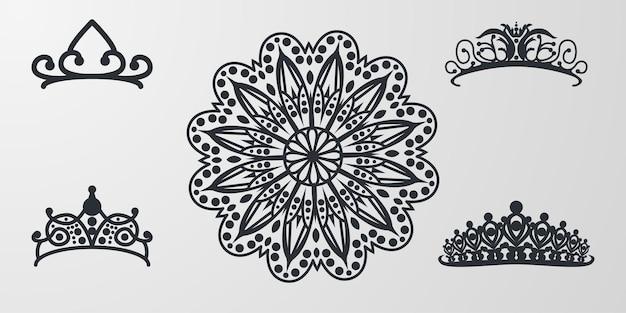 Adorno decorativo de mandala con logo de tiara de corona