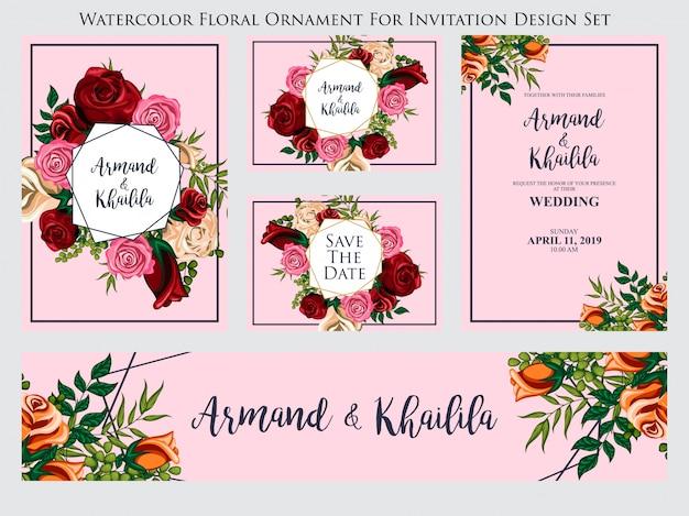 Adorno floral acuarela para conjunto de diseño de invitación
