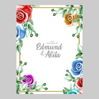 Adorno floral acuarela para invitación y tarjeta de regalo.