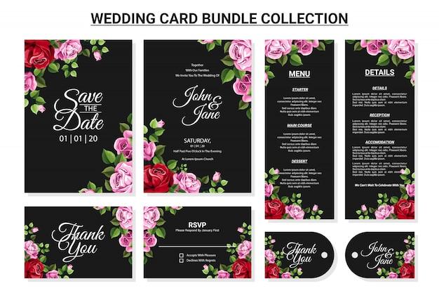 Adorno floral para conjunto de colección de paquetes de tarjetas de boda