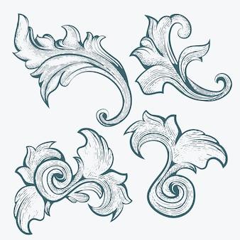 Adorno floral con estilo de grabado