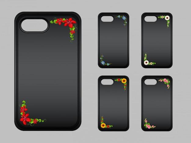 Adorno en la funda del teléfono móvil con flores de colores