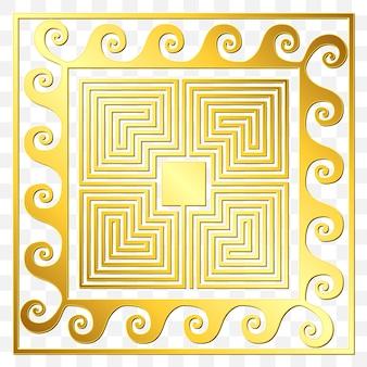 Adorno griego cuadrado dorado tradicional vintage