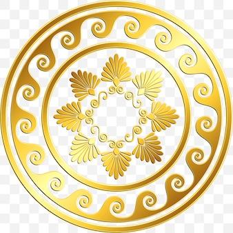 Adorno griego redondo vintage dorado tradicional