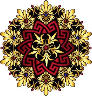 Adorno griego tradicional vintage de oro y círculo rojo