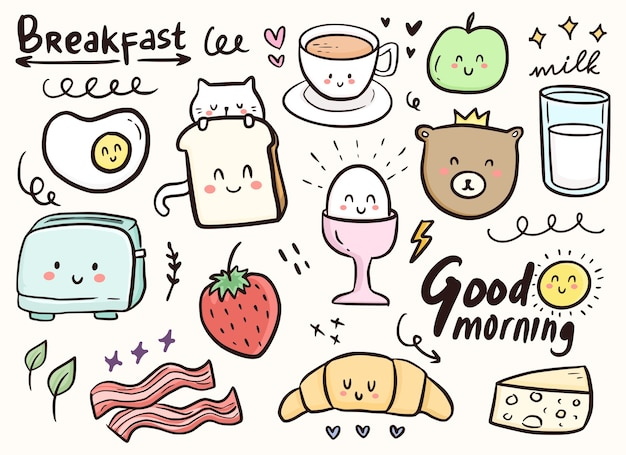 Adorno lindo del doodle del desayuno con la ilustración del gato y de la comida