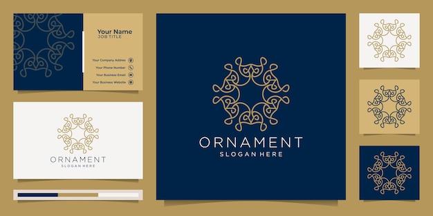 Adorno logo línea arte estilo lujo y tarjeta de visita