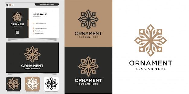 Adorno logotipo y diseño de tarjeta de visita, lujo, abstracto, belleza, icono