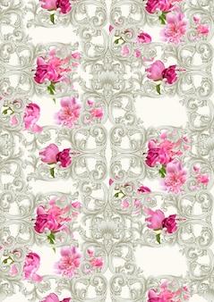 Adorno de lujo barroco con el patrón de rosas