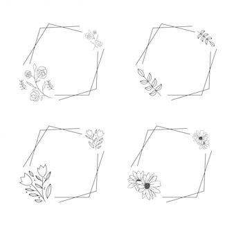 Adorno de lujo floral marco de flores set line art
