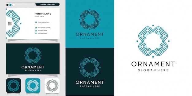 Adorno de lujo con logotipo de arte lineal y diseño de tarjeta de visita