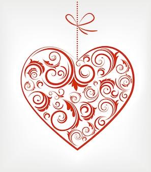 Adorno navideño corazón rojo con remolinos