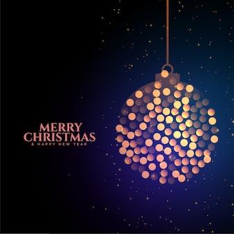 Adorno navideño feliz hecho con fondo de luces bokeh