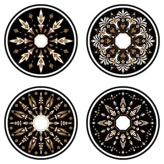 Adorno redondo de encaje con elementos de damasco y arabescos. estilo mehndi.