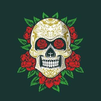 Adorno de sugarskull con rosas