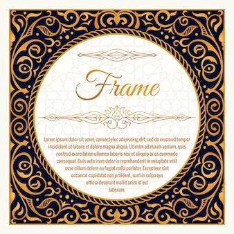 Adorno vintage de marco floral dorado para embalaje