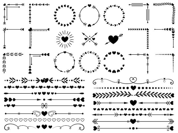 Adornos de amor conjunto de elementos decorativos de corazones decorativos, bordes decorativos y corazones de boda.