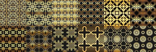 Adornos árabes de oro de patrones sin fisuras. conjunto de patrones árabes de moda, adornos geométricos islámicos y marcos de ramadan dorado