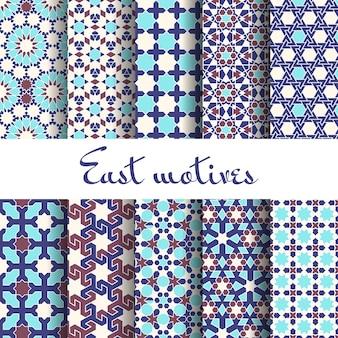 Adornos árabes tradicionales. patrones sin fisuras, musulmanes y árabes