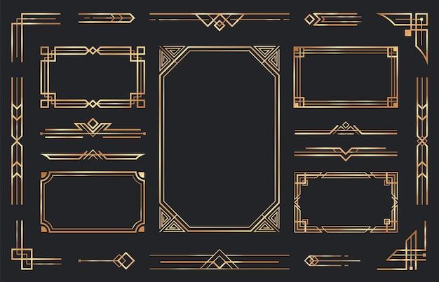 Adornos art deco de oro. borde dorado decorativo antiguo árabe, marco ornamental geométrico retro y esquinas doradas adornadas