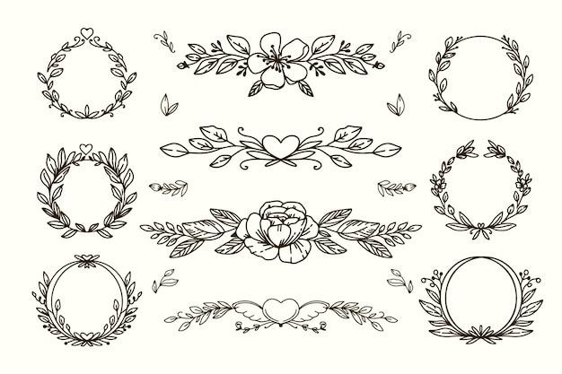 Adornos de boda dibujados a mano