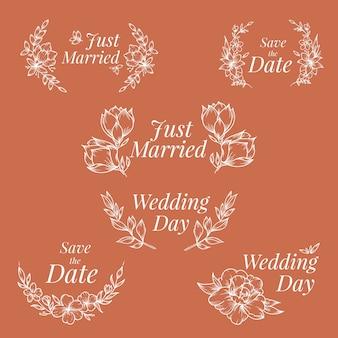 Adornos de boda de diseño dibujado a mano