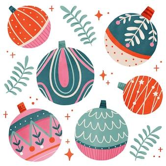 Adornos de bolas de navidad en acuarela