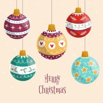 Adornos de bolas de navidad de diseño plano