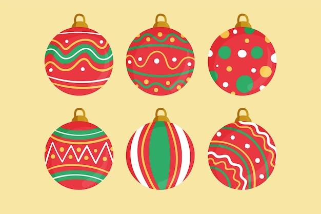 Adornos de bolas navideñas dibujadas a mano