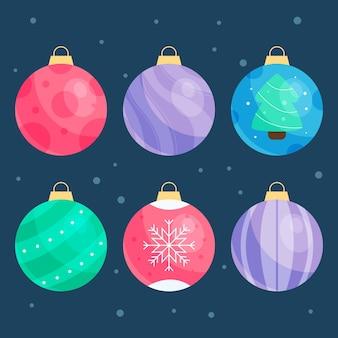 Adornos de bolas navideñas en diseño plano.