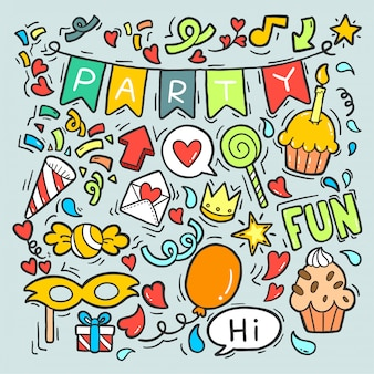 Adornos de cumpleaños feliz fiesta dibujados a mano