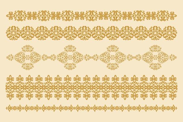 Adornos decorativos vectoriales conjunto de patrones horizontales elemento de diseño vectorial gráficos por computadora