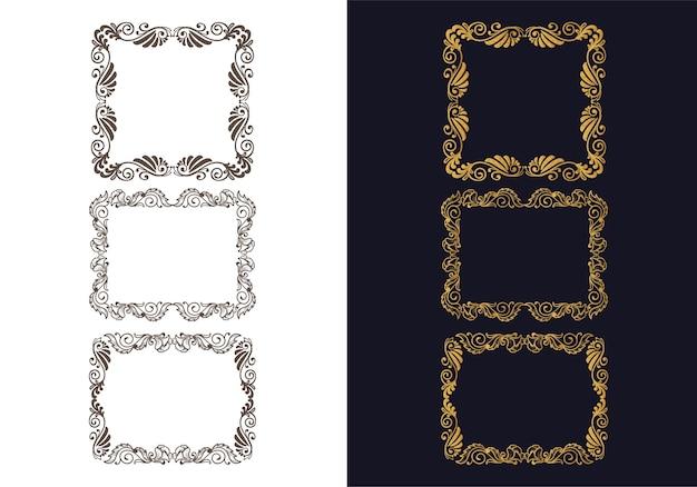 Adornos dibujados a mano diseño de conjunto de marco floral decorativo