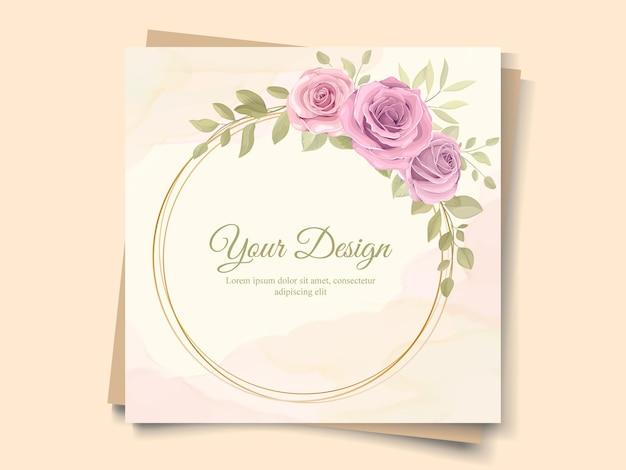 Adornos florales dibujados a mano para invitación de boda.