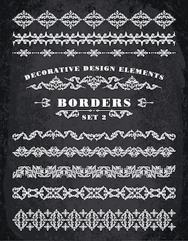 Adornos fronteras. elementos de diseño decorativo.