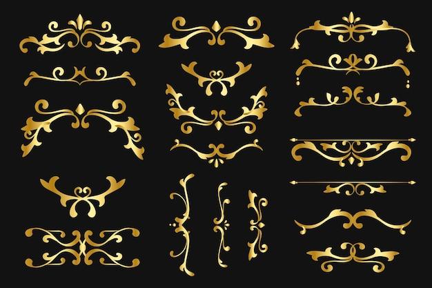 Adornos de lujo vector de oro florecer colección de marcos