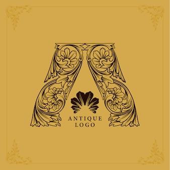 Adornos lujoso logotipo letra a antigüedad